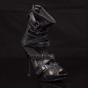 Guess GW Blarney Leather Net Heeled Bootie